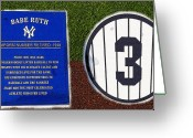 Baseball Artwork Greeting Cards - Yankee Legends number 3 Greeting Card by David Lee Thompson