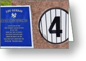 Baseball Artwork Greeting Cards - Yankee Legends number 4 Greeting Card by David Lee Thompson