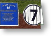 Baseball Artwork Greeting Cards - Yankee Legends number 7 Greeting Card by David Lee Thompson