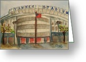 Famous Baseball Stadium Greeting Cards - Yankee Stadium  Greeting Card by Elaine Duras