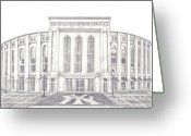 Juliana Dube Drawings Greeting Cards - Yankee Stadium Greeting Card by Juliana Dube