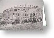 Yankee Stadium Drawings Greeting Cards - Yankee Stadium Original Sketch by Pigatopia Greeting Card by Shannon Ivins