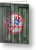 Ny Yankees Baseball Art Greeting Cards - YANKEES at the GATES Greeting Card by Dan Haraga