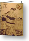 Babe Ruth World Series Greeting Cards - Yankees Greeting Card by Paul Rapa