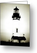 Highway One Greeting Cards - Yaquina Head Light - Haunted Oregon Lighthouse Greeting Card by Christine Till
