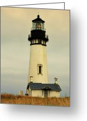 Lighthouse Tower Greeting Cards - Yaquina Head Lighthouse - Newport OR Greeting Card by Christine Till