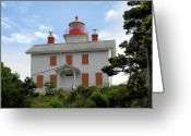Sea Greeting Cards - Yaquina Lighthouses - Yaquina Bay Lighthouse Oregon Greeting Card by Christine Till