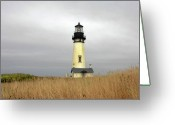 Lighthouse Tower Greeting Cards - Yaquina Lighthouses - Yaquina Head Lighthouse Western Oregon Greeting Card by Christine Till