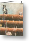 Kitten Pastels Greeting Cards - Yarn...What Yarn  Greeting Card by Arline Wagner