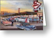 Football Painting Greeting Cards - Yaws Top Notch Drive In Greeting Card by Mike Hill