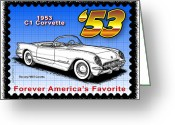 Corvette Gift Drawings Greeting Cards - year-By-Year 1953 Corvette Greeting Card by K Scott Teeters