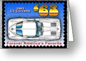 Corvette Gift Drawings Greeting Cards - Year-By-Year 1963 Corvette Greeting Card by K Scott Teeters