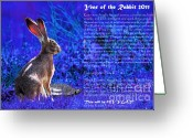 Easter Greeting Cards - Year of the Rabbit 2011 . blue Greeting Card by Wingsdomain Art and Photography