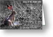 Hare Greeting Cards - Year of the Rabbit 2011 . BW Greeting Card by Wingsdomain Art and Photography