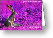 Hare Greeting Cards - Year of the Rabbit 2011 . Magenta Greeting Card by Wingsdomain Art and Photography
