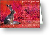 Hare Greeting Cards - Year of the Rabbit 2011 . Red Greeting Card by Wingsdomain Art and Photography