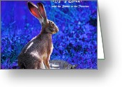 Hare Greeting Cards - Year of the Rabbit 2011 . Square Blue Greeting Card by Wingsdomain Art and Photography