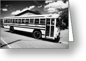 Tenn Greeting Cards - yellow american bluebird school bus in Lynchburg tennessee usa Greeting Card by Joe Fox
