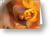 Contemporary Greeting Cards - Yellow and Gold Abstract 050712 Greeting Card by David Lane