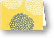 Elm Greeting Cards - Yellow and Gray Garden Bloom Greeting Card by Linda Woods