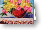 Colours Pastels Greeting Cards - Yellow  and Pink Greeting Card by John  Williams