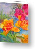 Reproducciones Tropicales Greeting Cards - Yellow and Purple Orchids Greeting Card by Estela Robles