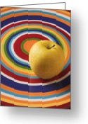 Delicious Greeting Cards - Yellow Apple  Greeting Card by Garry Gay