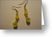 Earrings Jewelry Greeting Cards - Yellow Ball Drop Earrings Greeting Card by Jenna Green
