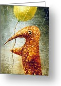 Surrealistic Painting Greeting Cards - Yellow Balloon Greeting Card by Lolita Bronzini