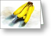 Banana Peel Greeting Cards - Yellow Banana Greeting Card by Peter Lau
