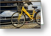 Cycling Greeting Cards - Yellow Bicycle Greeting Card by Carlos Caetano