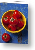 Wooden Bowls Greeting Cards - Yellow bowl of tomatoes  Greeting Card by Garry Gay