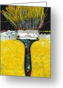 Anahi Decanio Mixed Media Greeting Cards - Yellow Brush Art Print Greeting Card by Anahi DeCanio