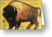 Buffalo Greeting Cards - Yellow Buffalo Greeting Card by Carol Suzanne Niebuhr