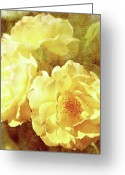 Single Rose Greeting Cards - Yellow Bunch Vintage Greeting Card by Cathie Tyler