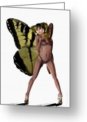 Poser Greeting Cards - Yellow Butterfly Pin-up  Greeting Card by Sandra Bauser Digital Art