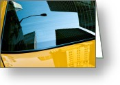 Taxi Cab Greeting Cards - Yellow Cab Big Apple Greeting Card by David Bowman