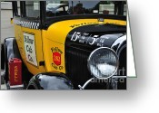 Taxi Cab Greeting Cards - Yellow Cab Co. - Vintage Ford Side View Greeting Card by Kaye Menner
