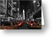 Night Greeting Cards - Yellow Cabs in Time Square in New York Greeting Card by Jordan  Drapeau
