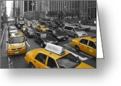 Vehicles Digital Art Greeting Cards - Yellow Cabs NY Greeting Card by Melanie Viola