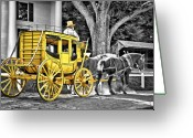 Carriage Greeting Cards - Yellow Carriage Greeting Card by Evelina Kremsdorf