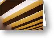 Horizontal Lines Greeting Cards - Yellow Ceiling Beams Greeting Card by Jeremy Woodhouse