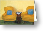 Pillows Greeting Cards - Yellow Chairs Greeting Card by Marianne Beukema