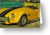 Ford Engine Greeting Cards - Yellow Cobra Greeting Card by Gwyn Newcombe