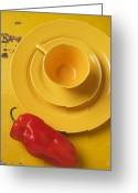Peppers Greeting Cards - Yellow Cup And Plate Greeting Card by Garry Gay
