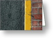 Brick Greeting Cards - Yellow Curb Greeting Card by Dan Holm
