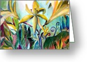 Lilies Greeting Cards - Yellow Day Lilies Greeting Card by Mindy Newman