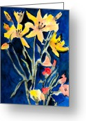 Lilies Greeting Cards - Yellow Daylilies Greeting Card by Arline Wagner