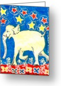 Animal Ceramics Greeting Cards - Yellow elephant facing left Greeting Card by Sushila Burgess