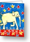 Animal Ceramics Greeting Cards - Yellow elephant facing right Greeting Card by Sushila Burgess